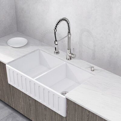 Edison Stone 36 x 18 Double Bowl Farmhouse Kitchen Sink with Faucet Faucet Finish: Stainless Steel
