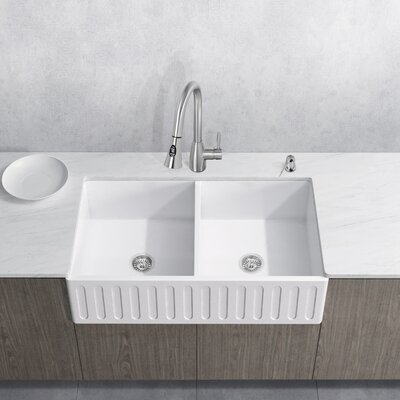 Aylesbury 36 x 18 Double Bowl Farmhouse Kitchen Sink with Faucet