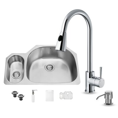 32 inch Undermount 80/20 Double Bowl 18 Gauge Stainless Steel Kitchen Sink with Weston Chrome Faucet, Grid, Two Strainers and Soap Dispenser