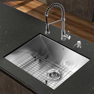 23 inch Undermount Single Bowl 16 Gauge Stainless Steel Kitchen Sink with Edison Stainless Steel Faucet, Grid, Strainer and Soap Dispenser Faucet Finish: Chrome