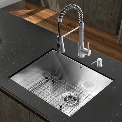 23 inch Undermount Single Bowl 16 Gauge Stainless Steel Kitchen Sink with Brant Stainless Steel Faucet, Grid, Strainer and Soap Dispenser