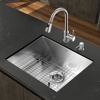 23 inch Undermount Single Bowl 16 Gauge Stainless Steel Kitchen Sink with Weston Chrome Faucet, Grid, Strainer and Soap Dispenser