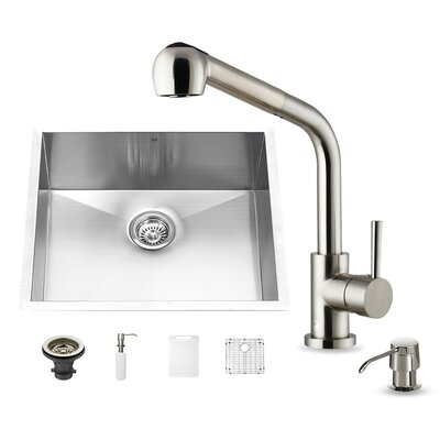 23 inch Undermount Single Bowl 16 Gauge Stainless Steel Kitchen Sink with Avondale Stainless Steel Faucet, Grid, Strainer and Soap Dispenser