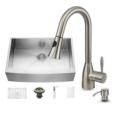 33 x 22.25 Single Bowl 16 Gauge Farmhouse Kitchen Sink with Aylesbury Faucet, Grid, Strainer and Soap Dispenser