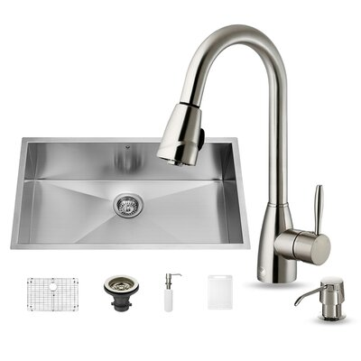 32 inch Undermount Single Bowl 16 Gauge Stainless Steel Kitchen Sink with Graham Stainless Steel Faucet, Grid, Strainer and Soap Dispenser