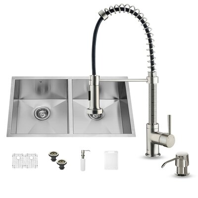 32 inch Undermount Single Bowl 16 Gauge Stainless Steel Kitchen Sink with Edison Chrome Faucet, Grid, Strainer and Soap Dispenser