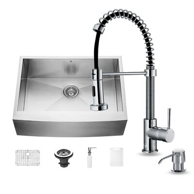 30 x 22 Farmhouse Kitchen Sink with Edison Faucet, Grid, Strainer and Soap Dispenser