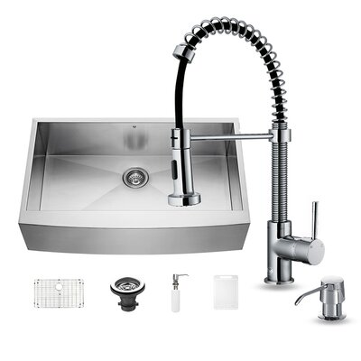36 inch Farmhouse Apron Single Bowl 16 Gauge Stainless Steel Kitchen Sink with Edison Chrome Faucet, Strainer and Soap Dispenser