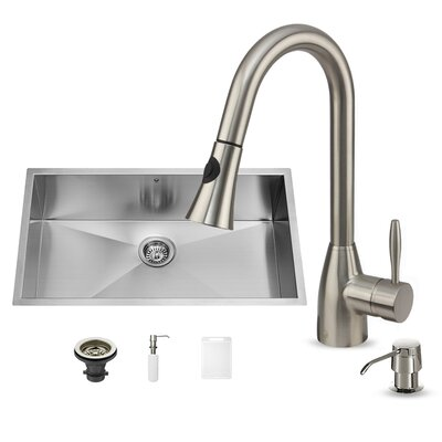 32 x 19 Undermount Kitchen Sink with Faucet, Grid, Strainer and Soap Dispenser