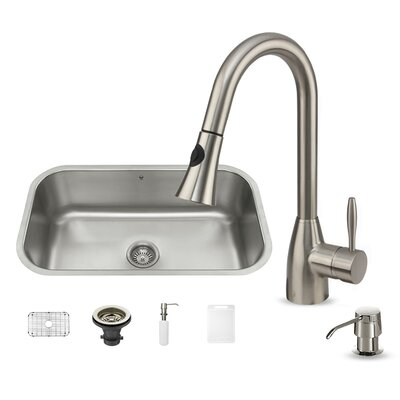 30 inch Undermount Single Bowl 18 Gauge Stainless Steel Kitchen Sink with Aylesbury Stainless Steel Faucet, Grid, Strainer and Soap Dispenser