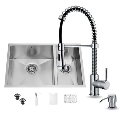 29 inch Undermount 70/30 Double Bowl 16 Gauge Stainless Steel Kitchen Sink with Edison Chrome Faucet, Two Grids, Two Strainers and Soap Dispenser