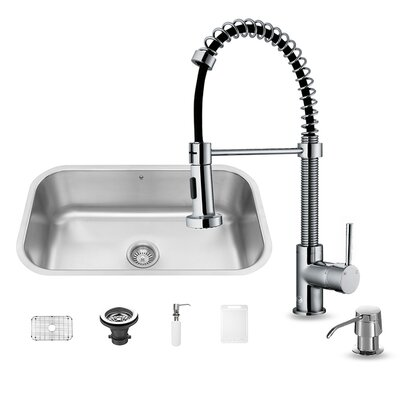 30 inch Undermount Single Bowl 18 Gauge Stainless Steel Kitchen Sink with Edison Chrome Faucet, Grid, Strainer and Soap Dispenser