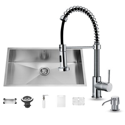 32 x 19 Undermount Kitchen Sink with Edison Faucet, Grid, Strainer, Colander and Soap Dispenser