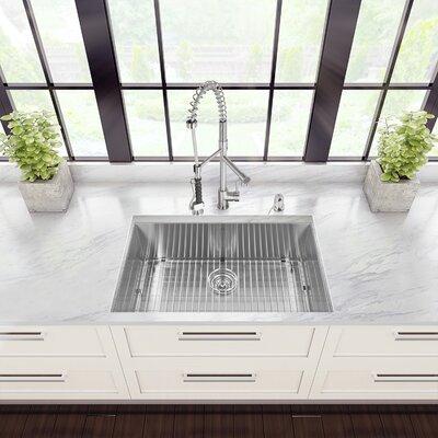 32 inch Undermount Single Bowl 16 Gauge Stainless Steel Kitchen Sink with Zurich Stainless Steel Faucet, Grid, Strainer, Colander and Soap Dispenser