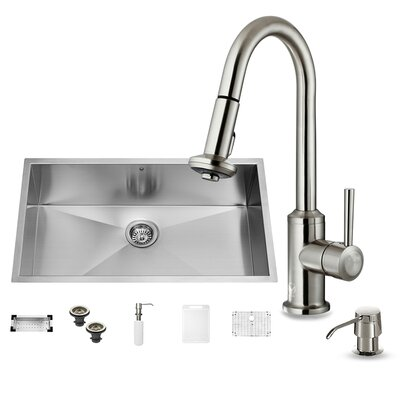 32 x 19 Single Bowl Undermount Kitchen Sink with Astor Stainless Steel Faucet, Grid, Strainer, Colander and Soap Dispenser
