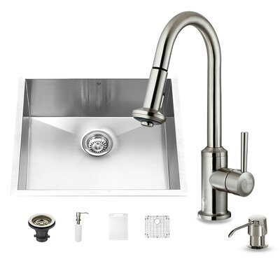23 inch Undermount Single Bowl 16 Gauge Stainless Steel Kitchen Sink with Astor Stainless Steel Faucet, Grid, Strainer and Soap Dispenser