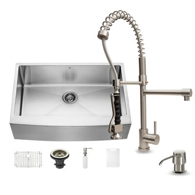33 inch Farmhouse Apron Single Bowl 16 Gauge Stainless Steel Kitchen Sink with Zurich Stainless Steel Faucet, Grid, Strainer and Soap Dispenser