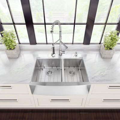 33 inch Farmhouse Apron 60/40 Double Bowl 16 Gauge Stainless Steel Kitchen Sink with Zurich Stainless Steel Faucet, Two Grids, Two Strainers and Soap Dispenser