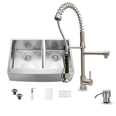 33 x 22 Double Basin Farmhouse Apron Kitchen Sink with Faucet, Two Grids, Two Strainers and Soap Dispenser