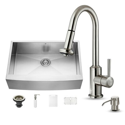 All in One 33 x 22 Farmhouse/Apron Kitchen Sink with Astor Faucet, Grid, Strainer and Soap Dispenser