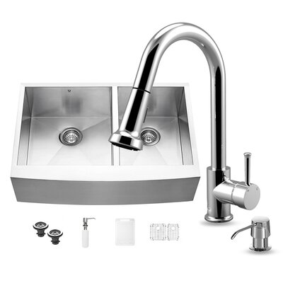 33 inch Farmhouse Apron 60/40 Double Bowl 16 Gauge Stainless Steel Kitchen Sink with Brant Stainless Steel Faucet, Two Grids, Two Strainers and Soap Dispenser