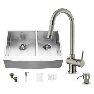 33 inch Farmhouse Apron 60/40 Double Bowl 16 Gauge Stainless Steel Kitchen Sink with Gramercy Stainless Steel Faucet, Two Grids, Two Strainers and Soap Dispenser