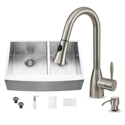 33 x 22 Double Basin Farmhouse Kitchen Sink with Faucet, Grid, Strainer and Soap Dispenser