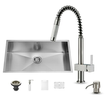 32 inch Undermount Single Bowl 16 Gauge Stainless Steel Kitchen Sink with Lincroft Stainless Steel Faucet, Grid, Strainer and Soap Dispenser