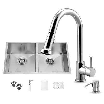 32 inch Undermount 50/50 Double Bowl 16 Gauge Stainless Steel Kitchen Sink with Harrison Chrome Faucet, Two Grids, Two Strainers and Soap Dispenser