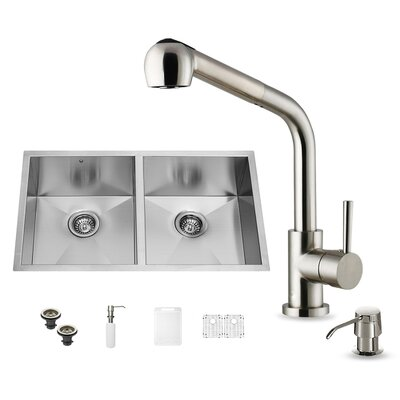 32 inch Undermount 50/50 Double Bowl 16 Gauge Stainless Steel Kitchen Sink with Avondale Stainless Steel Faucet, Two Grids, Two Strainers and Soap Dispenser