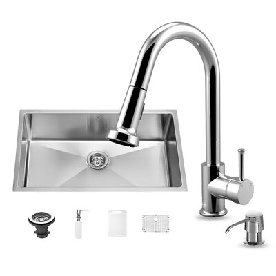 32 inch Undermount Single Bowl 16 Gauge Stainless Steel Kitchen Sink with Harrison Chrome Faucet, Grid, Strainer and Soap Dispenser