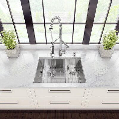 29 inch Undermount 70/30 Double Bowl 16 Gauge Stainless Steel Kitchen Sink with Zurich Chrome Faucet, Two Grids, Two Strainers and Soap Dispenser Faucet Finish: Chrome