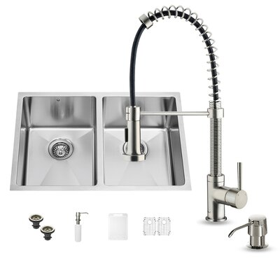 29 inch Undermount 50/50 Double Bowl 16 Gauge Stainless Steel Kitchen Sink with Edison Stainless Steel Faucet, Two Grids, Two Strainers and Soap Dispenser