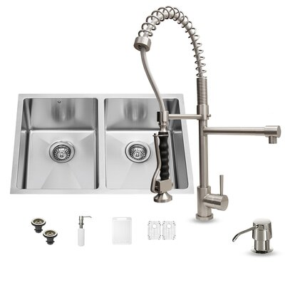 29 inch Undermount 50/50 Double Bowl 16 Gauge Stainless Steel Kitchen Sink with Zurich Stainless Steel Faucet, Two Grids, Two Strainers and Soap Dispenser