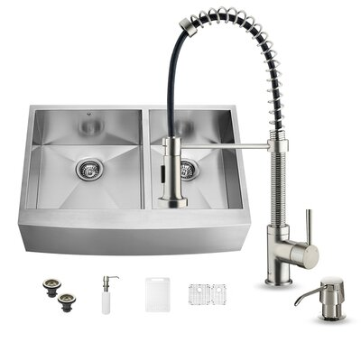 36 inch Farmhouse Apron 60/40 Double Bowl 16 Gauge Stainless Steel Kitchen Sink with Edison Stainless Steel Faucet, Two Grids, Two Strainers and Soap Dispenser