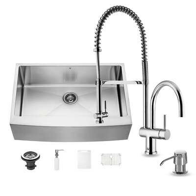 33 inch Farmhouse Apron Single Bowl 16 Gauge Stainless Steel Kitchen Sink with Dresden Chrome Faucet, Grid, Strainer and Soap Dispenser