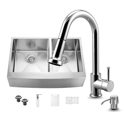33 inch Farmhouse Apron 60/40 Double Bowl 16 Gauge Stainless Steel Kitchen Sink with Harrison Chrome Faucet, Two Grids, Two Strainers and Soap Dispenser