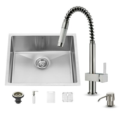 23 x 20 Undermount Kitchen Sink with Faucet, Grid, Strainer and Soap Dispenser