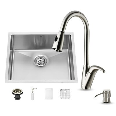 23 inch Undermount Single Bowl 16 Gauge Stainless Steel Kitchen Sink with Romano Stainless Steel Faucet, Grid, Strainer and Soap Dispenser