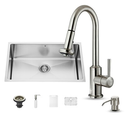 30 inch Undermount Single Bowl 16 Gauge Stainless Steel Kitchen Sink with Astor Stainless Steel Faucet, Grid, Strainer and Soap Dispenser