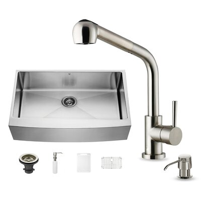 All in One 36 x 22 Farmhouse Apron Kitchen Sink with Faucet, Grid, Strainer and Soap Dispenser