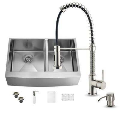 36 x 22 Double Basin Farmhouse Kitchen Sink with Faucet, Grid, Strainer and Soap Dispenser