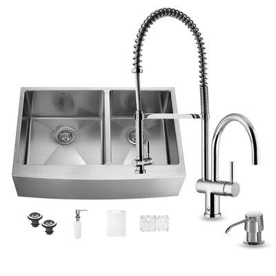 36 inch Farmhouse Apron 60/40 Double Bowl 16 Gauge Stainless Steel Kitchen Sink with Dresden Chrome Faucet, Two Grids, Two Strainers and Soap Dispenser