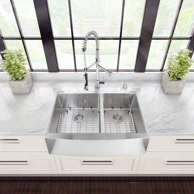 36 inch Farmhouse Apron 60/40 Double Bowl 16 Gauge Stainless Steel Kitchen Sink with Zurich Chrome Faucet, Two Grids, Two Strainers and Soap Dispenser