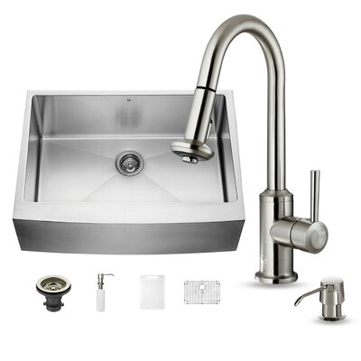 30 x 22 Farmhouse/Apron Kitchen Sink with Astor Stainless Steel Faucet, Grid, Strainer and Soap Dispenser