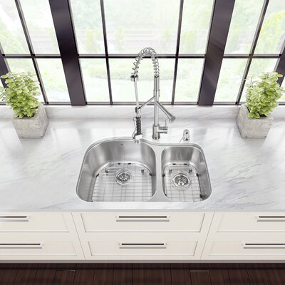 31 inch Undermount 70/30 Double Bowl 18 Gauge Stainless Steel Kitchen Sink with Zurich Stainless Steel Faucet, Two Grids, Two Strainers and Soap Dispenser