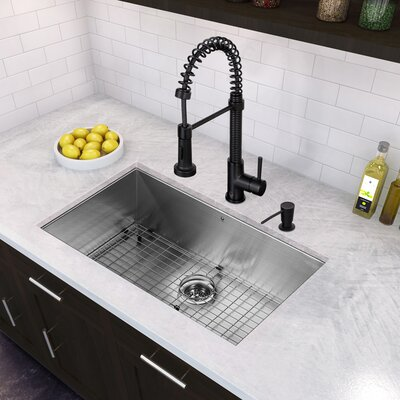 32 inch Undermount Single Bowl 16 Gauge Stainless Steel Kitchen Sink with Edison Matte Black Faucet, Grid, Strainer and Soap Dispenser