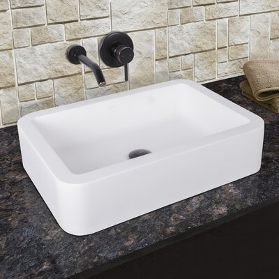 Petunia Matte Stone Rectangular Vessel Bathroom Sink