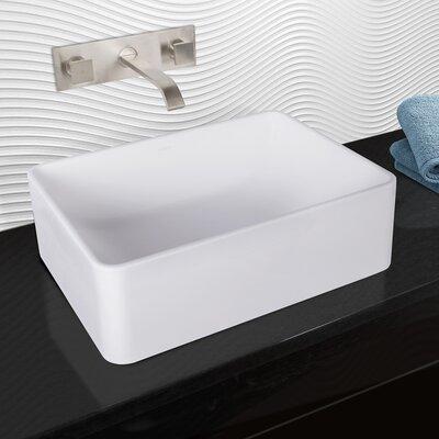 Caladesi Rectangular Vessel Bathroom Sink with Faucet