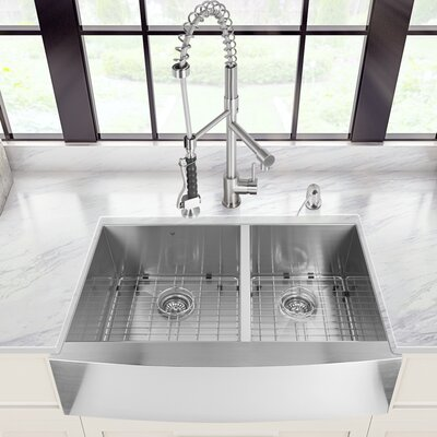 36 inch Farmhouse Apron 60/40 Double Bowl 16 Gauge Stainless Steel Kitchen Sink with Zurich Stainless Steel Faucet, Two Grids, Two Strainers and Soap Dispenser